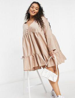 Aangerimpelde jurk met stroken in stone-Neutraal