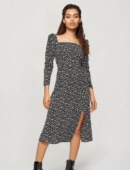 Midi jurk met vierkante hals in zwart-witte hartjesprint