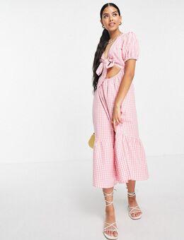Midi-jurk met gestrikte voorkant en gingham ruit in roze