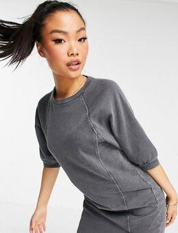 Mini-sweaterjurk met pofmouwen in grijs met wassing