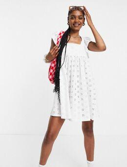 Tall - Babydoll mini-jurk met broderie, vierkante hals en korte mouwen met ruches in wit