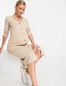 Geribbelde midi-jurk met knopen in lichtbeige-Neutraal