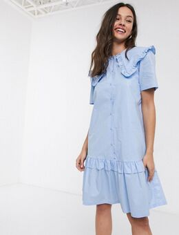 Resume - Tailor - Mini-jurk met opvallende kraag in wit-Blauw