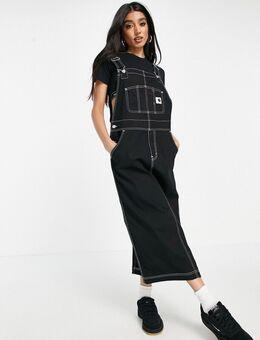 Denim midi-jurk in tuinbroek-model met contrasterend stiksel-Zwart