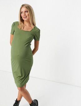 Mamalicious - Midi-jurk met vierkante hals in groen