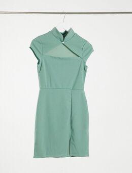 Scuba crepe bodycon jurk met uitsnijding in groen
