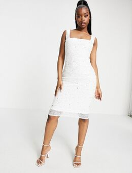 Exclusieve midi jurk met vierkante hals en versiering in wit