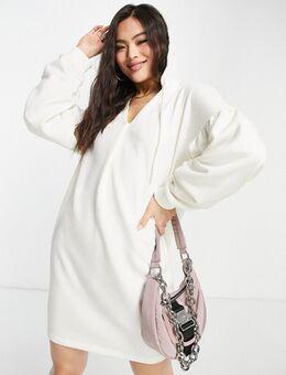 Mini hoodie jurk met pofmouwen in gebroken wit