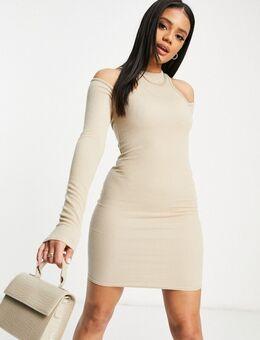 Geribbelde mini jurk met racer back in lichtbeige-Wit