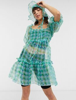 Inspired - Organza mini aangerimpelde jurk met ruiten in groen