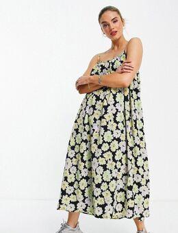 Aangerimpelde maxi cami-jurk met retro bloemenprint-Veelkleurig