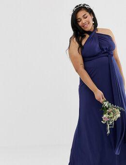 Exclusieve lange multifunctionele bruidsmeisjesjurk in marineblauw