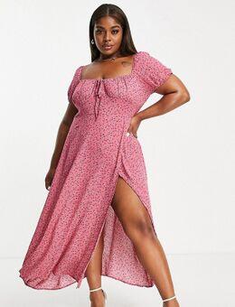 X Billie Faiers - Midi-jurk met hartvormige halslijn, dijsplit en bloemenprint in roze-Veelkleurig