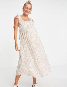 Violet Romance - Zwangerschapskleding - Midi-jurk met stroken en strikbanden in bloemenprint-Meerkleurig