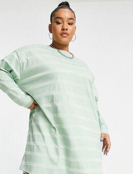 ASOS DESIGN Curve - Oversized T-shirt met lange mouwen in saliegroen met strepen in dezelfde kleurschakering