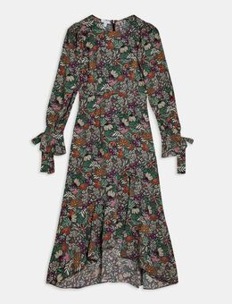 Lange jurk met lange mouwen en bloemenprint in zwart-Meerkleurig