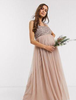 Lange tule jurk voor bruidsmeisjes met vierkante halslijn, bovenlaag van delicate lovertjes in dezelfde kleurschakering en zonder mouwen in taupe-Bruin