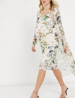 Hope & Ivy - Zwangerschapskleding - Set van jaren 90 slipdress en ochtendjas in zachte saliegroene bloemenprint