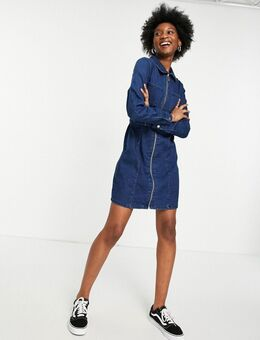 Denim mini-jurk met ritssluiting en tailleriem in donkerblauw
