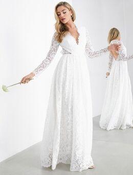 Penelope - Kanten trouwjurk met V-hals en open rug-Wit