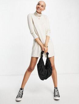 Superzachte gebreide mini-jurk met rolkraag in ecru-Wit