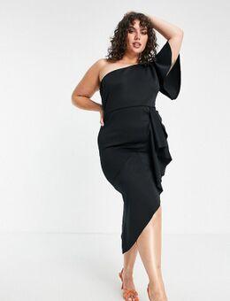 Midi jurk met blote schouder en overslag in zwart