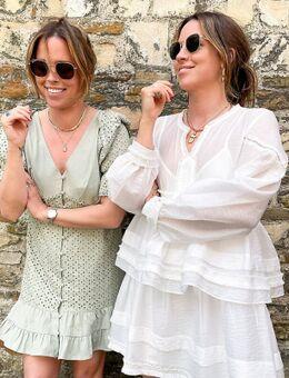 X Collyer Twins - Mini-jurk van broderie met knopen en ruches langs schouders-Groen