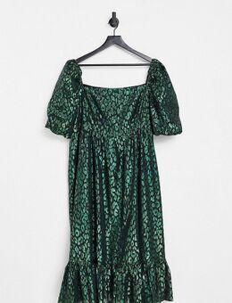 Midi jurk van jacquard met pofmouwen in smaragdgroen