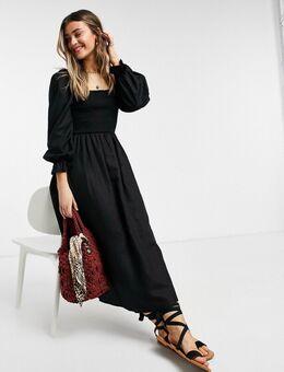 Gesmokte midi jurk in zwart
