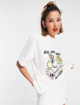 Piqué T-shirt met cartoonprint in ecru-Wit