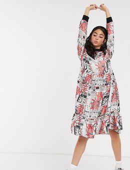 Satijnen midi-jurk met volant en krantenprint-Multi