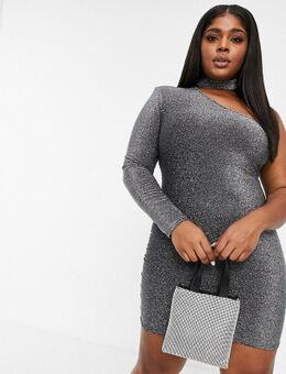 Glitterende mini-jurk met choker en blote schouder in zilver
