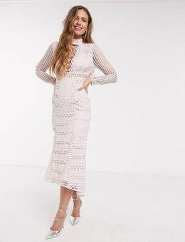 Kanten midi-jurk met lange mouwen met peplum en vetersluiting in lichtroze-Meerkleurig