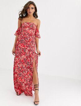Schouderloze lange jurk met dijsplit en bladerprint in rood-Meerkleurig