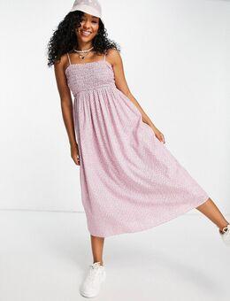 Gesmokte midi jurk van biologisch katoen in roze bloemenprint