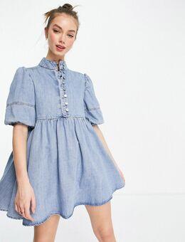 Hoogsluitende aangerimpelde jurk met ballonmouwen in denim met lichte wassing-Blauw