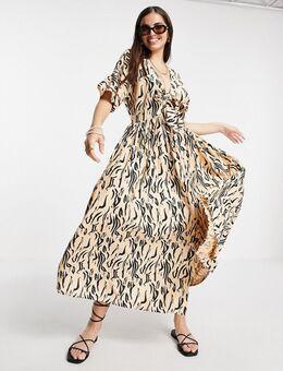 Lange jurk met geknoopte voorkant, knopen en dierenpritn in naturel-Veelkleurig