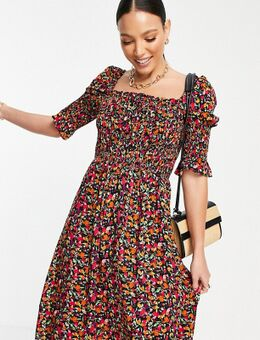 Mini jurk met gesmokt lijfje en bloemenprint-Meerkleurig