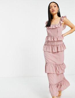 Lange jurk met ruches in roze