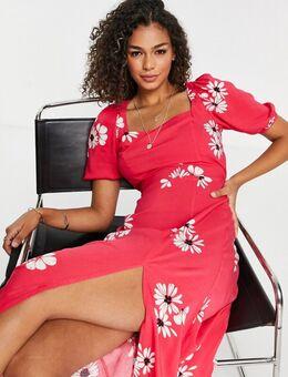 Midi jurk met vierkante hals en split aan de zoom in rode bloemenprint-Rood