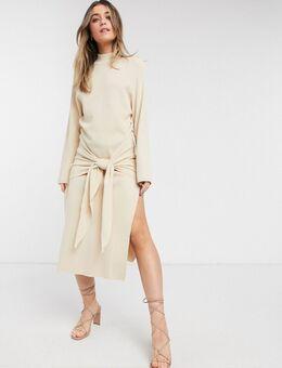 Geknoopte gebreide jurk in zandkleur-Crème