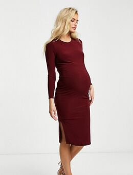Flounce - Maternity - Basic midi jurk van jersey met lange mouwen in bordeauxrood-Paars