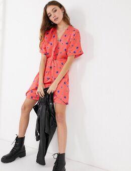 Mini-jurk in rode bloemenprint-Multikleur