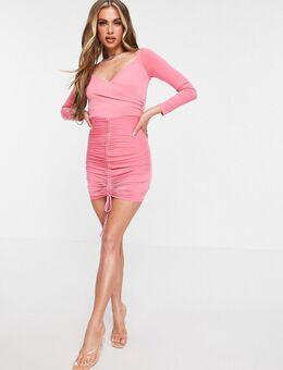 Bardot bodycon mini-jurk met rimpeleffect in roze
