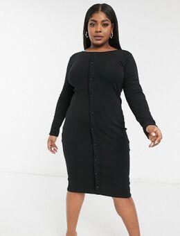 Exclusives - Midi jurk met lange mouwen en knopen in zwart