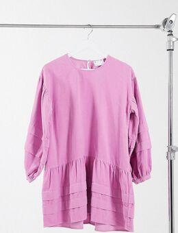 ASOS DESIGN Petite - Aangerimpelde mini-jurk met plooidetails van corduroy in lichtroze