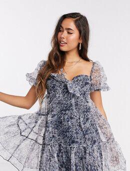 Aangerimpelde organza mini-jurk met bloemenprint-Blauw