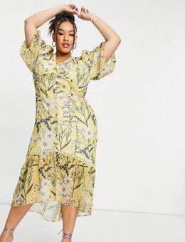 Hope & Ivy - Plus - Midi jurk met verlaagde zoom, ballonmouwen en madeliefjesprint in geel