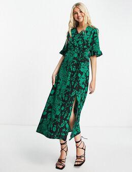Midi jurk met split en print-Veelkleurig