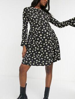 Wednesday's Girl - Maternity - Aangerimpelde mini-jurk in madeliefjesprint-Zwart